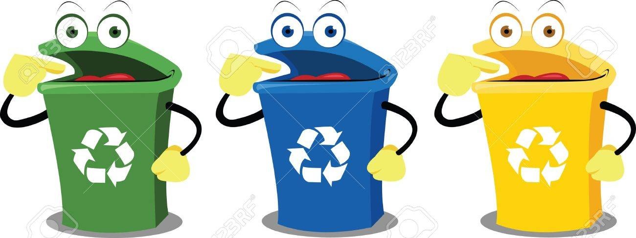 A recycling box points where to leave our waste. Every object is singly grouped Stock Vector - 15628413