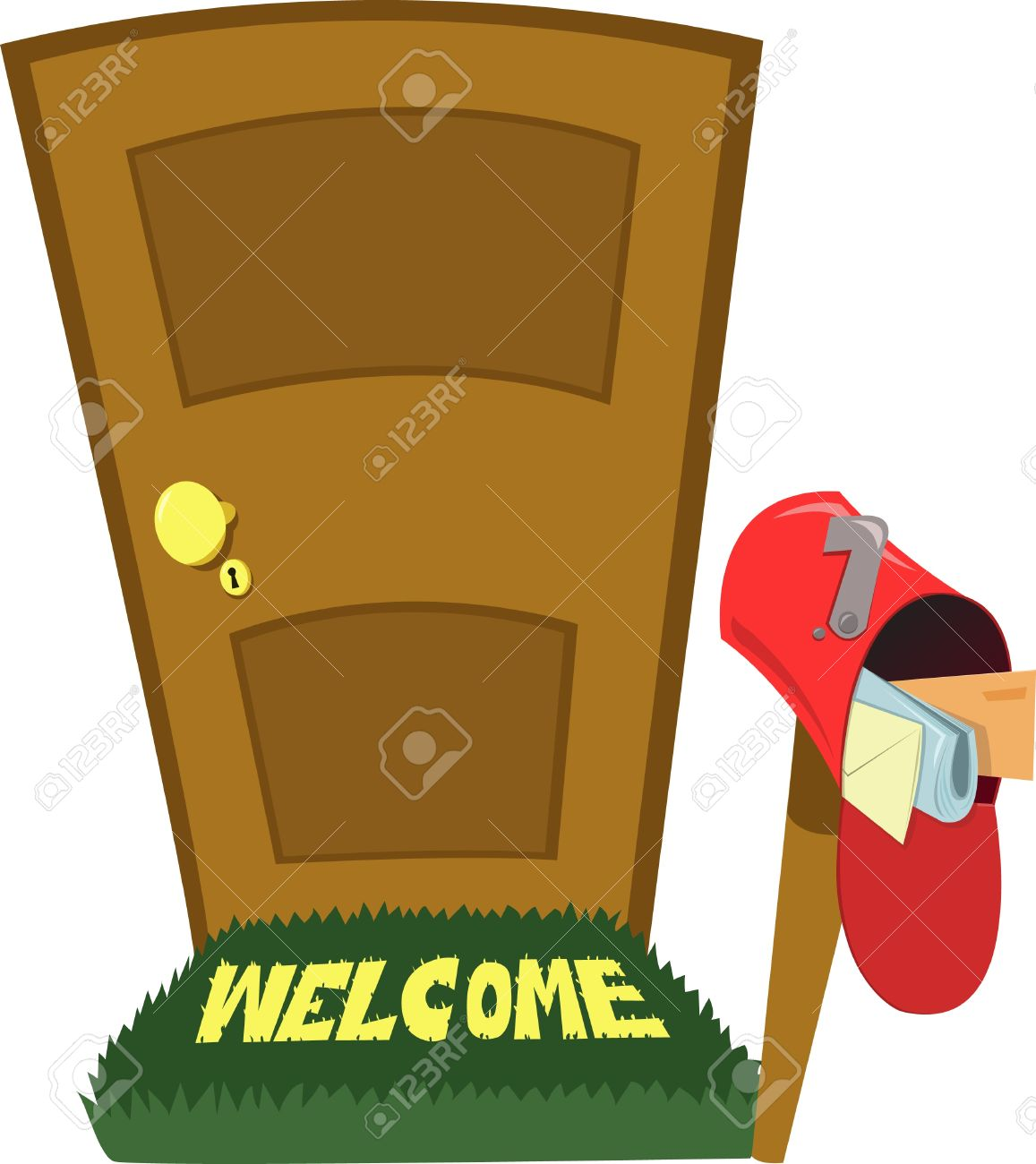 a closed door and a mailbox with letters Stock Vector - 15628459