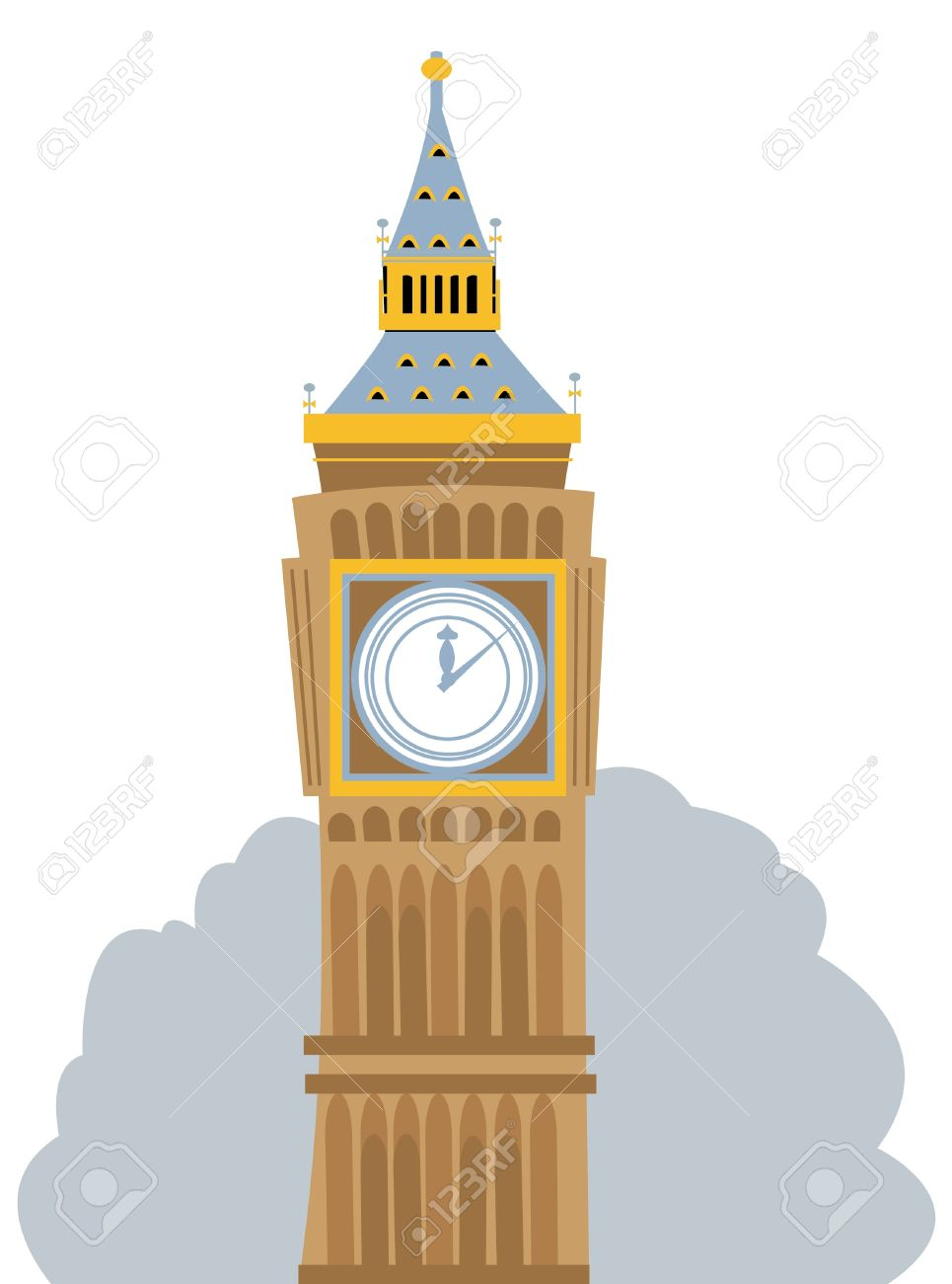a cartoon representing the big ben in london royalty free cliparts