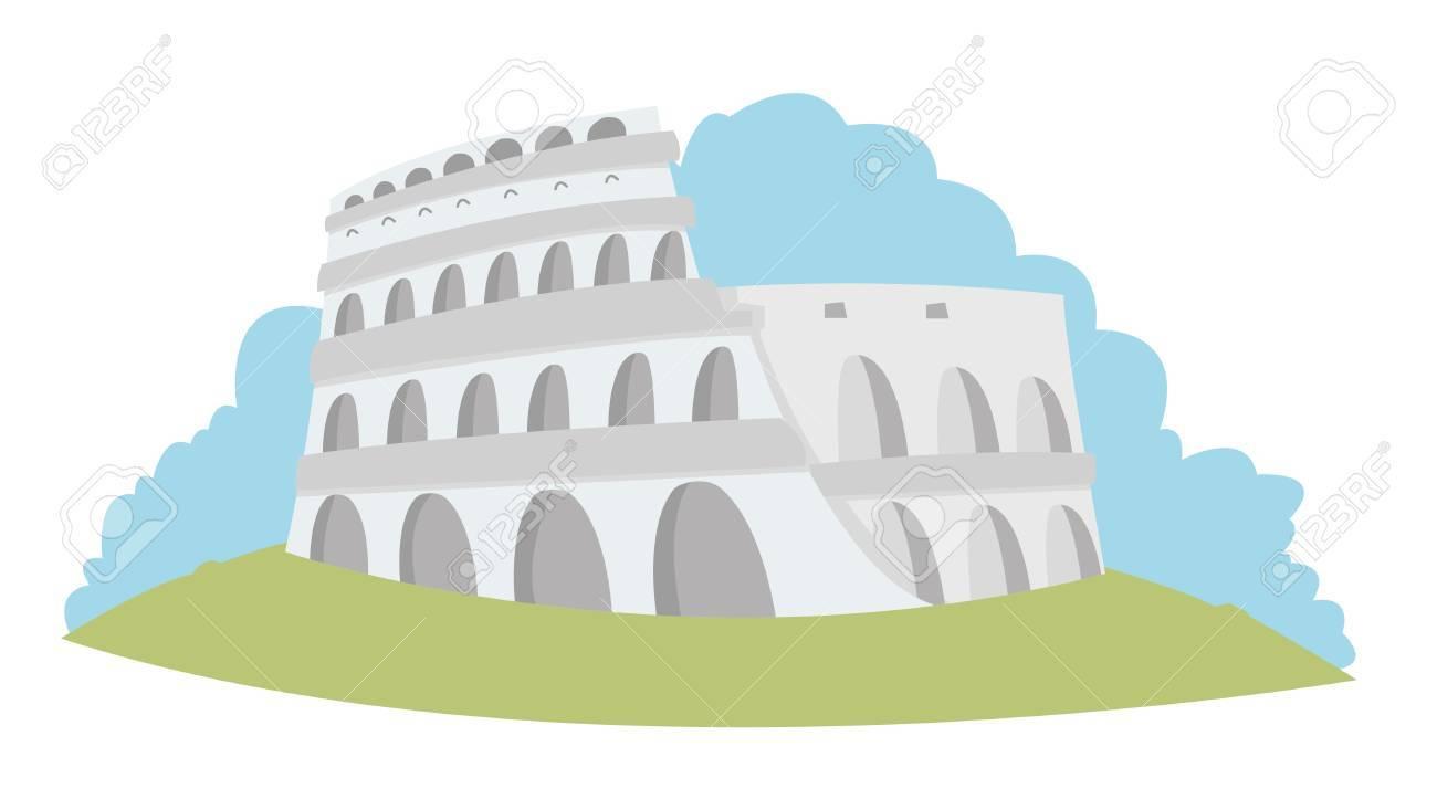 illustration representing the Roman Colosseum in pastel tones Stock Vector - 21705827
