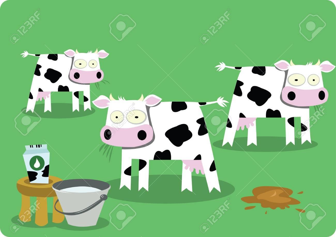 Funny Cows Stock Vector - 21959569
