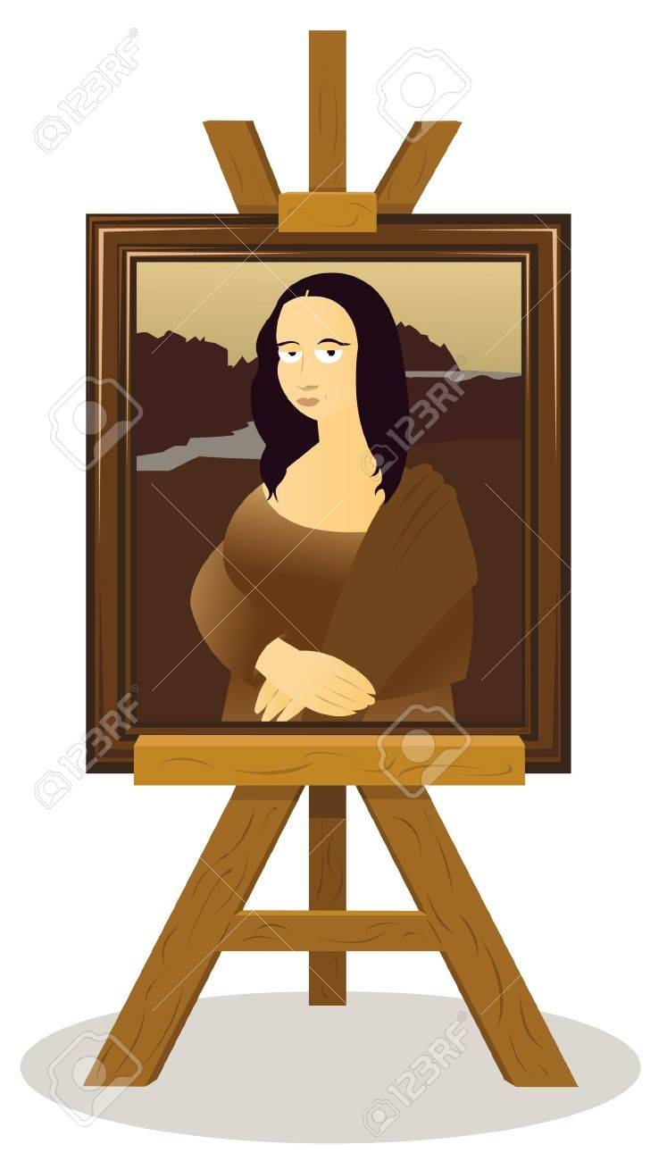 a vector cartoon representing an easel with a Monalisa Stock Vector - 21759909