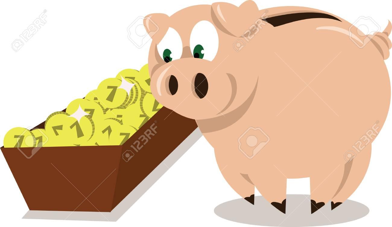 A Piggy Bank eating some coins Stock Vector - 21759949