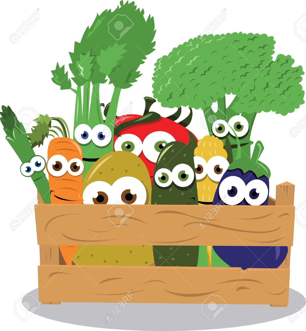 a vector cartoon representing some funny vegetables in a wooden box Stock Vector - 21769447