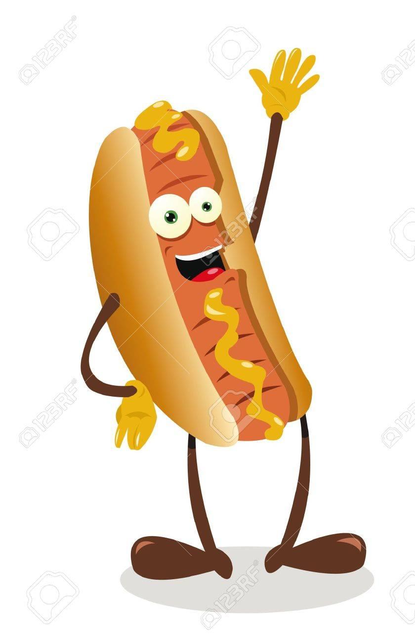 a vector cartoon representing a funny hot dog Stock Vector - 21943013