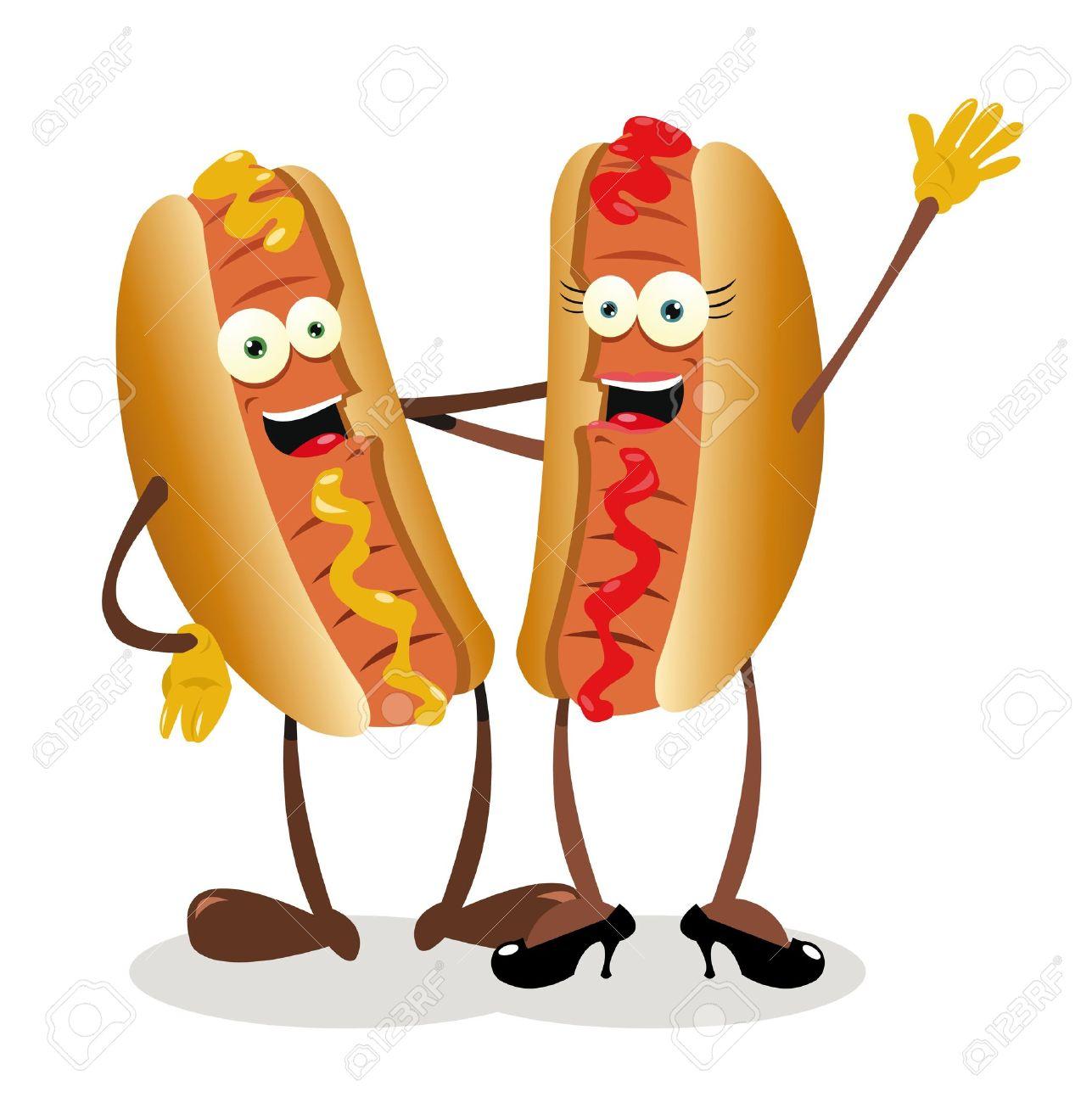 a vector cartoon representing a hot   dog couple Foto de archivo - 21943014
