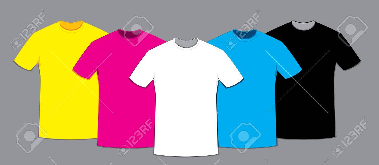 In Vector Cartoon Representing A Group Of Blank T Shirts Templates