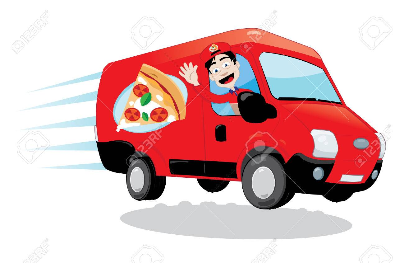 En Dessin Animé Vecteur Représentant Une Camionnette De Livraison De Pizza Drôle Conduit Par Un Homme Enthousiaste Sympathique
