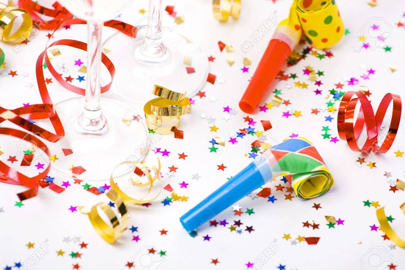 Colorful Spirals, Small Confetti Stars And Colorful Blowers On