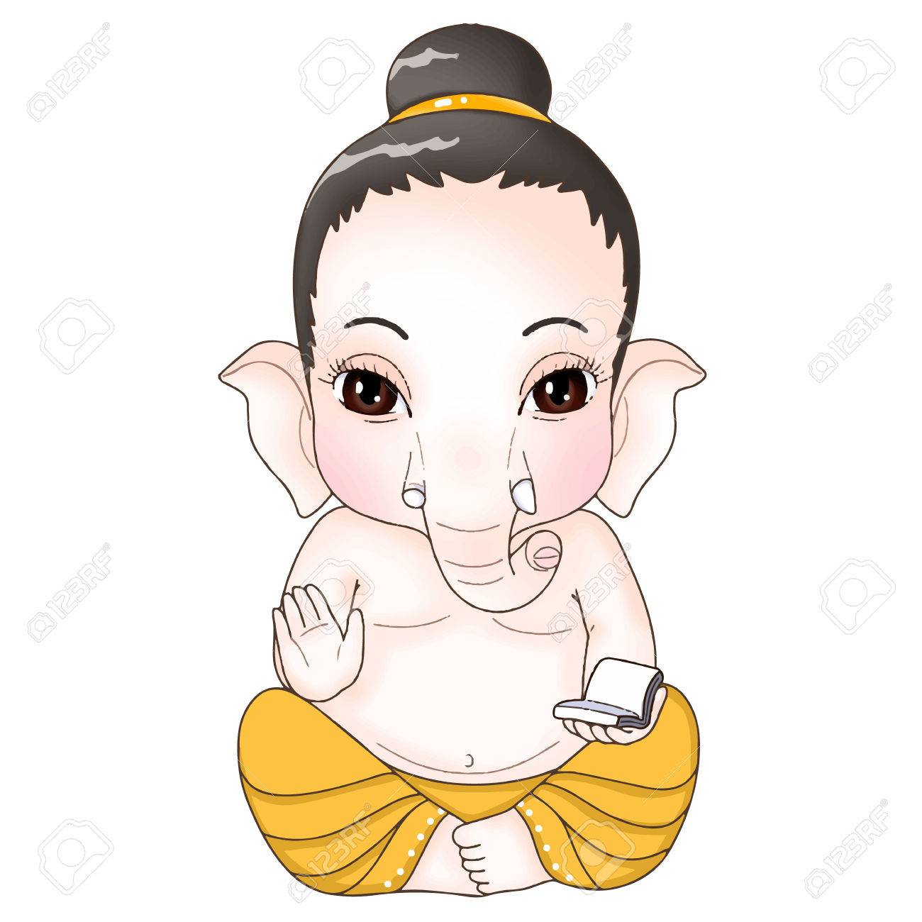 Ganesha Sitting Pose Cartoon Charactor Royalty Free Cliparts