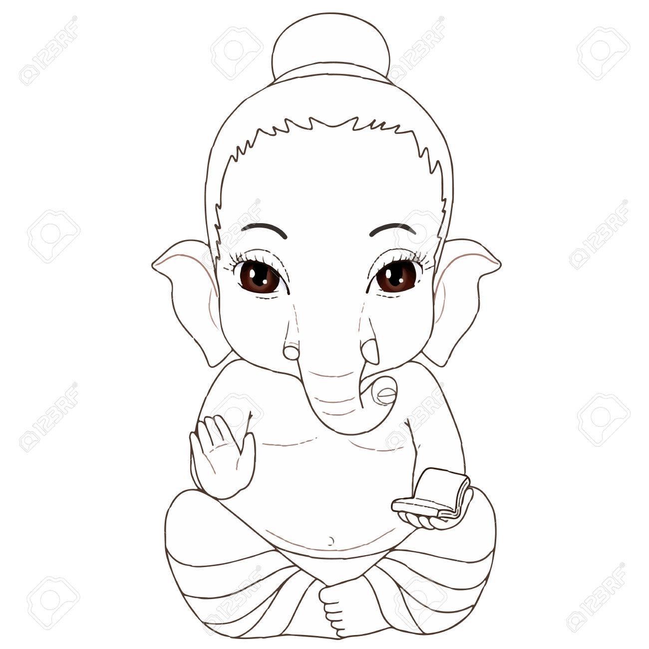 Ganesha Sitting Pose Cartoon Character Royalty Free Cliparts