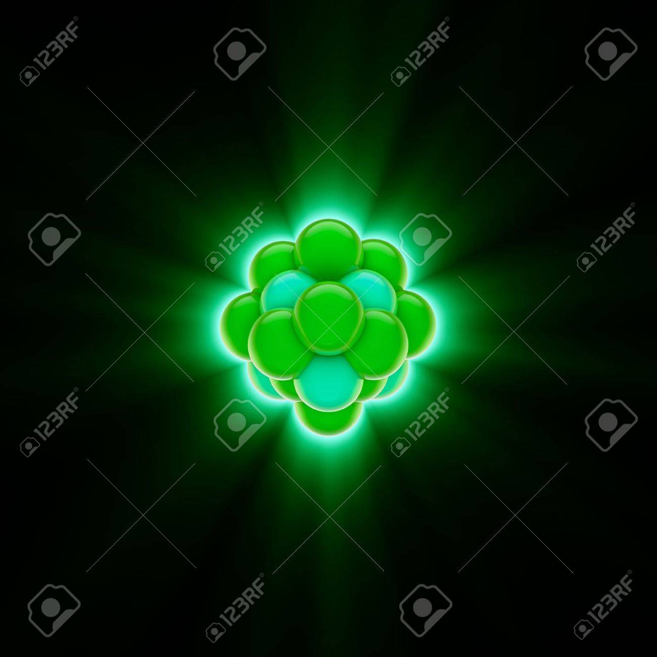 3d render of a green nucleus Stock Photo - 7729683