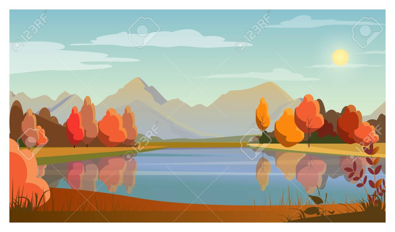 Landscape With Lake Trees Sun And Mountains In Background