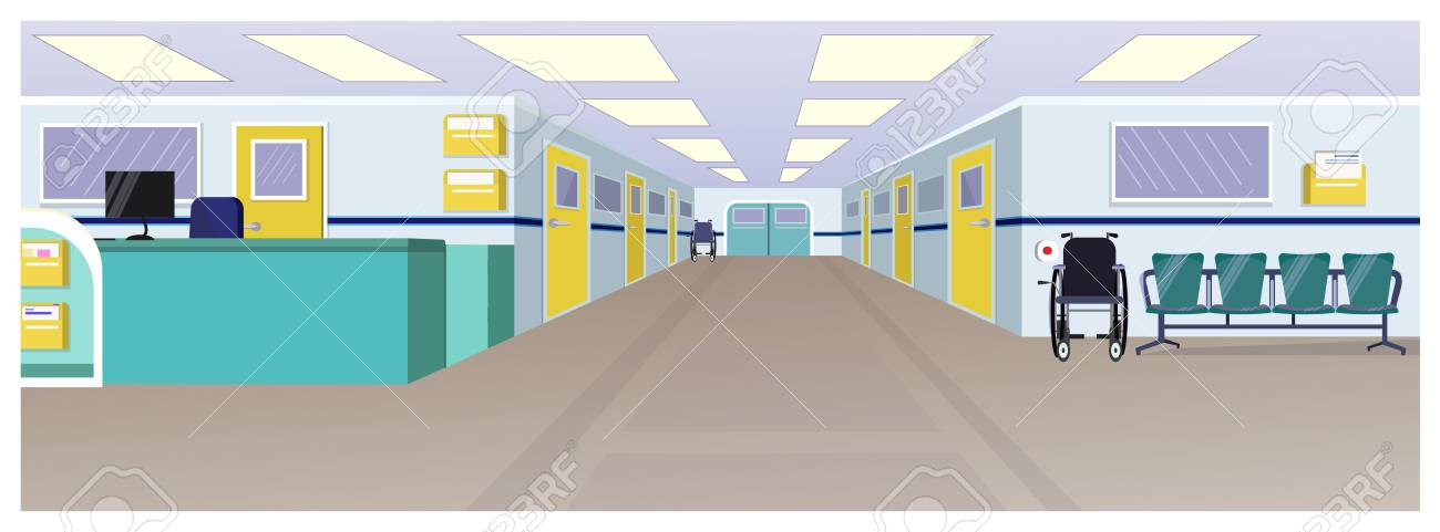 Hospital hall with reception, doors in corridor and chairs vector illustration. Clinic interior. Hospital concept. For websites, wallpapers, posters or banners. - 111923697