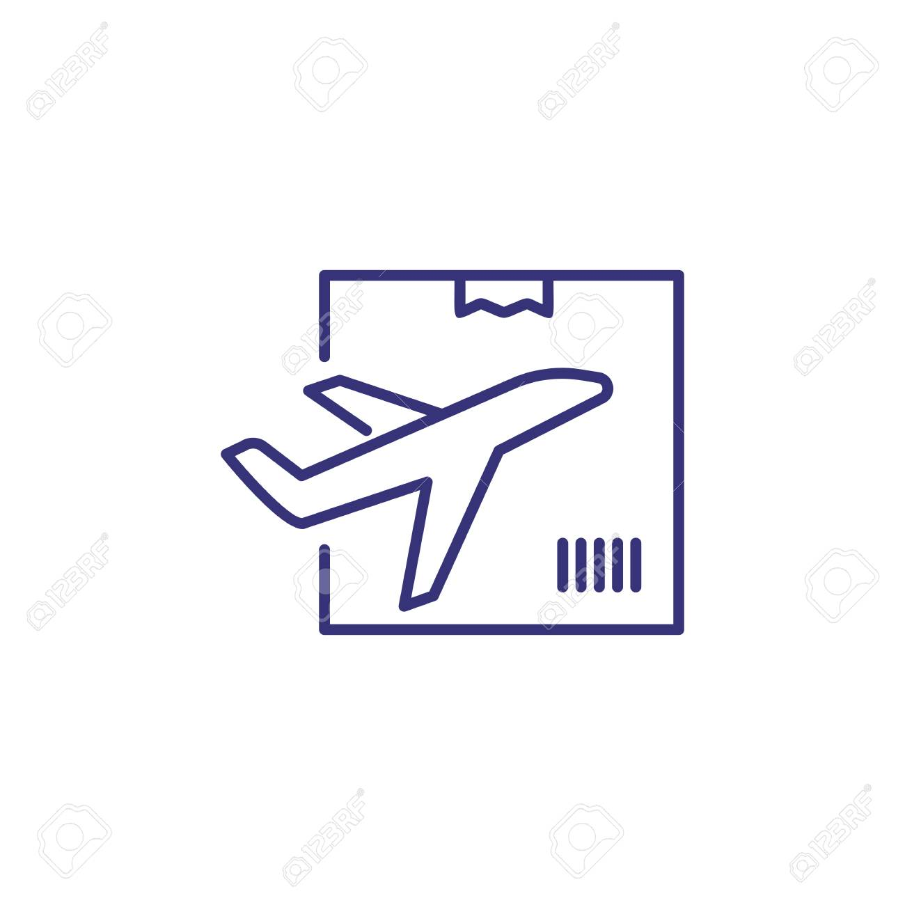 Air delivery line icon  Plane, box, package  Logistics concept