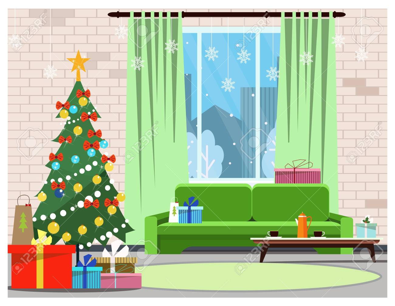 Apartment Interior With Decorated Fir-tree, Window And Sofa ...