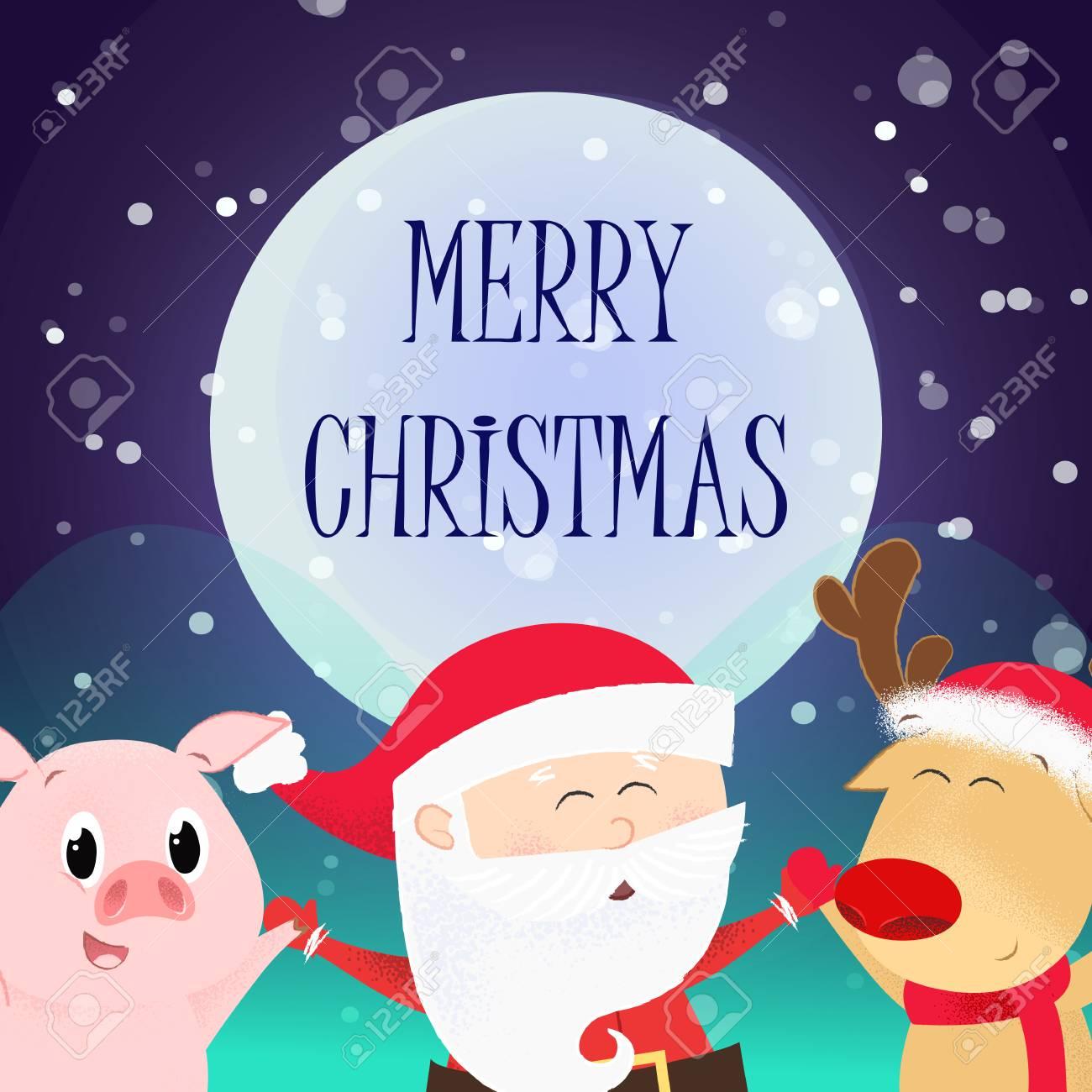 Christmas Flyer.Merry Christmas Flyer Design Dancing Cute Santa Claus Reindeer