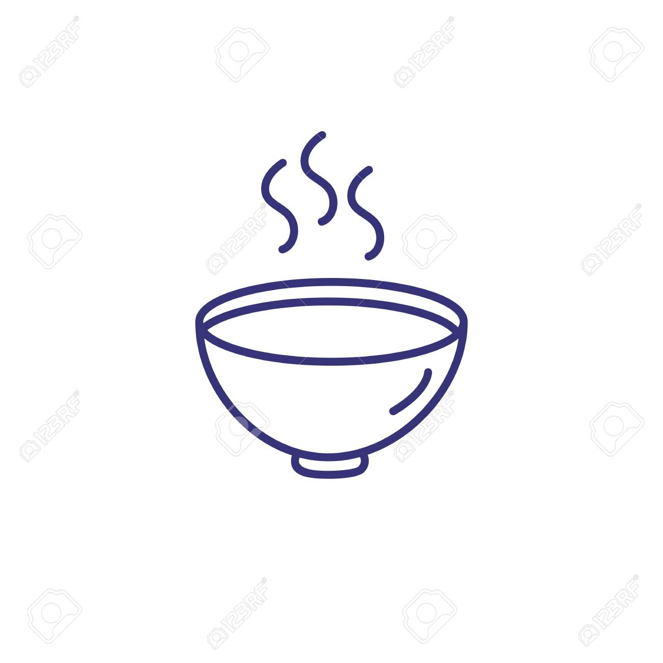 Hot soup line icon. Cream soup, recipe, steam. Eating concept. Vector illustration can be used for topics like lunch, dinner, gourmet - 112192013