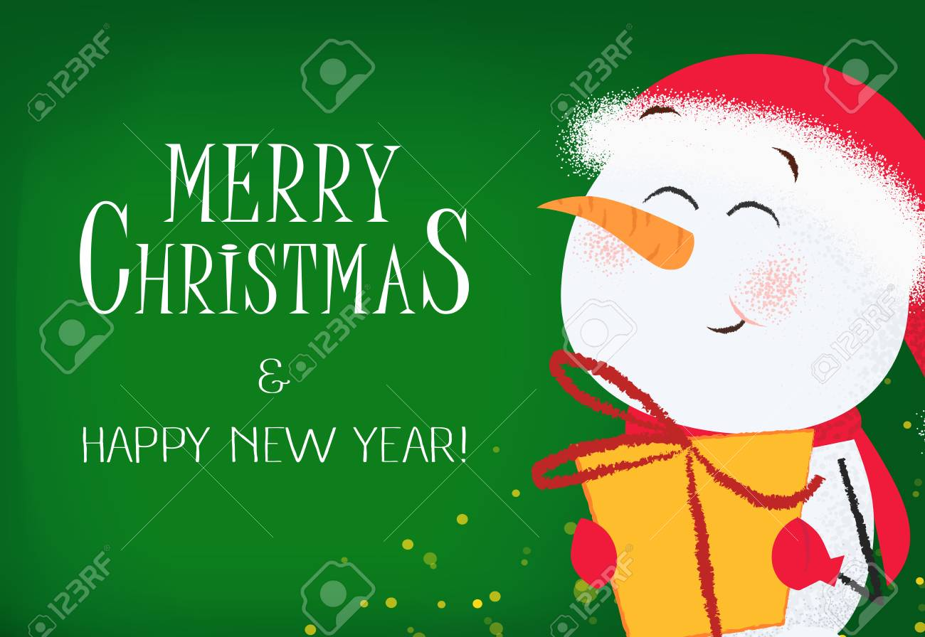 merry christmas and happy new year invitation template design happy snowman holding gift box on