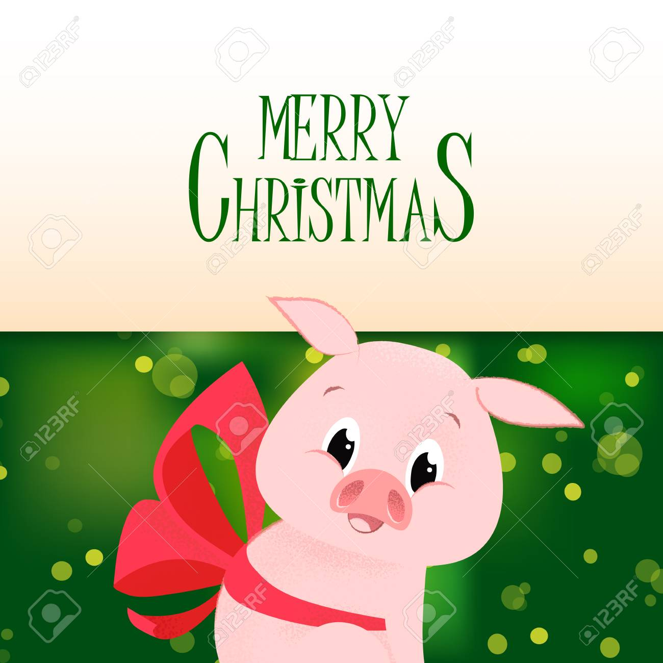 merry christmas poster template design piglet with bow under