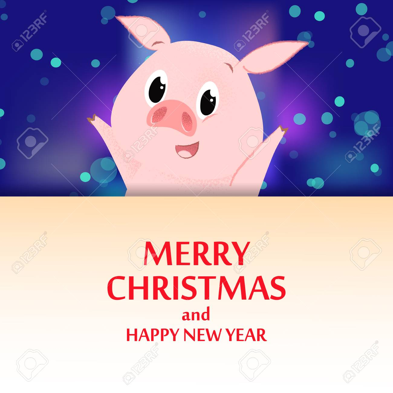 merry christmas and happy new year banner design cheerful cartoon pig over poster on blue