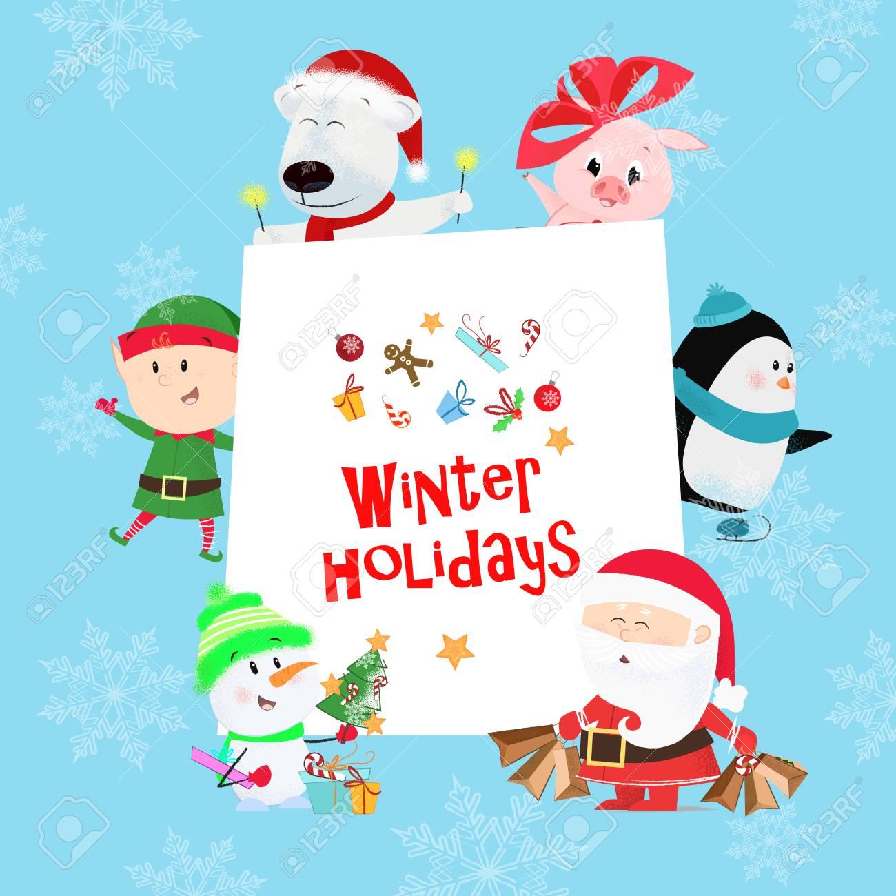 Santa Claus design christmas penguin snow snowflakes poinsettia christmas clip art holiday gift winter
