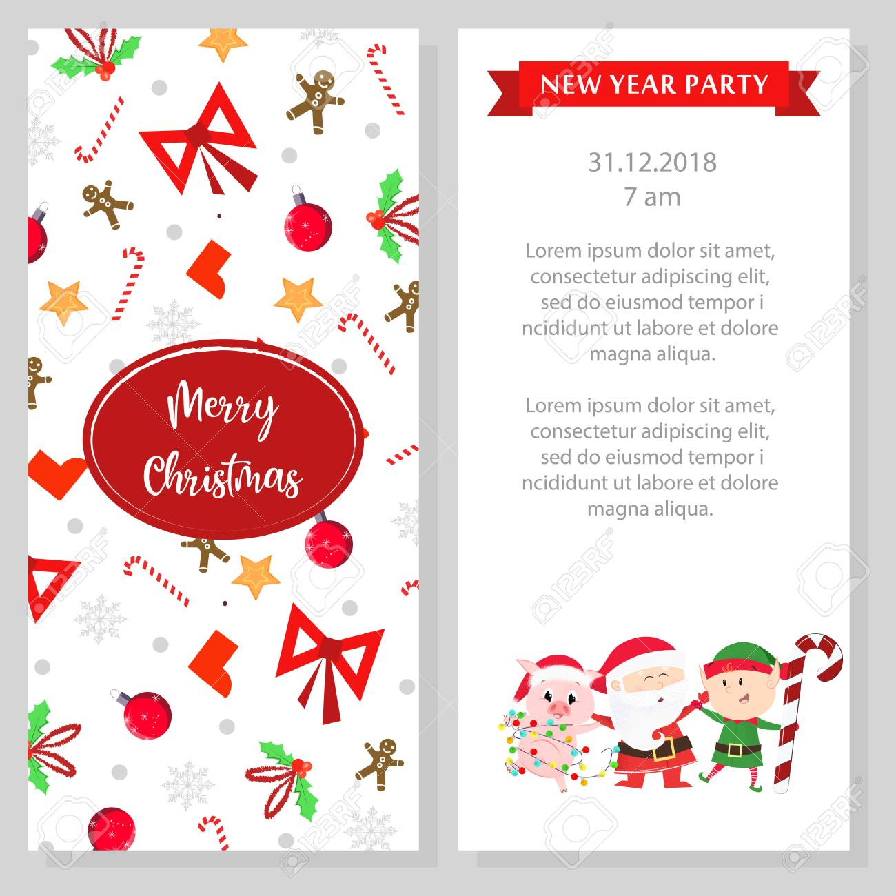 New Year Party Program Design White Booklet With Cartoon Characters