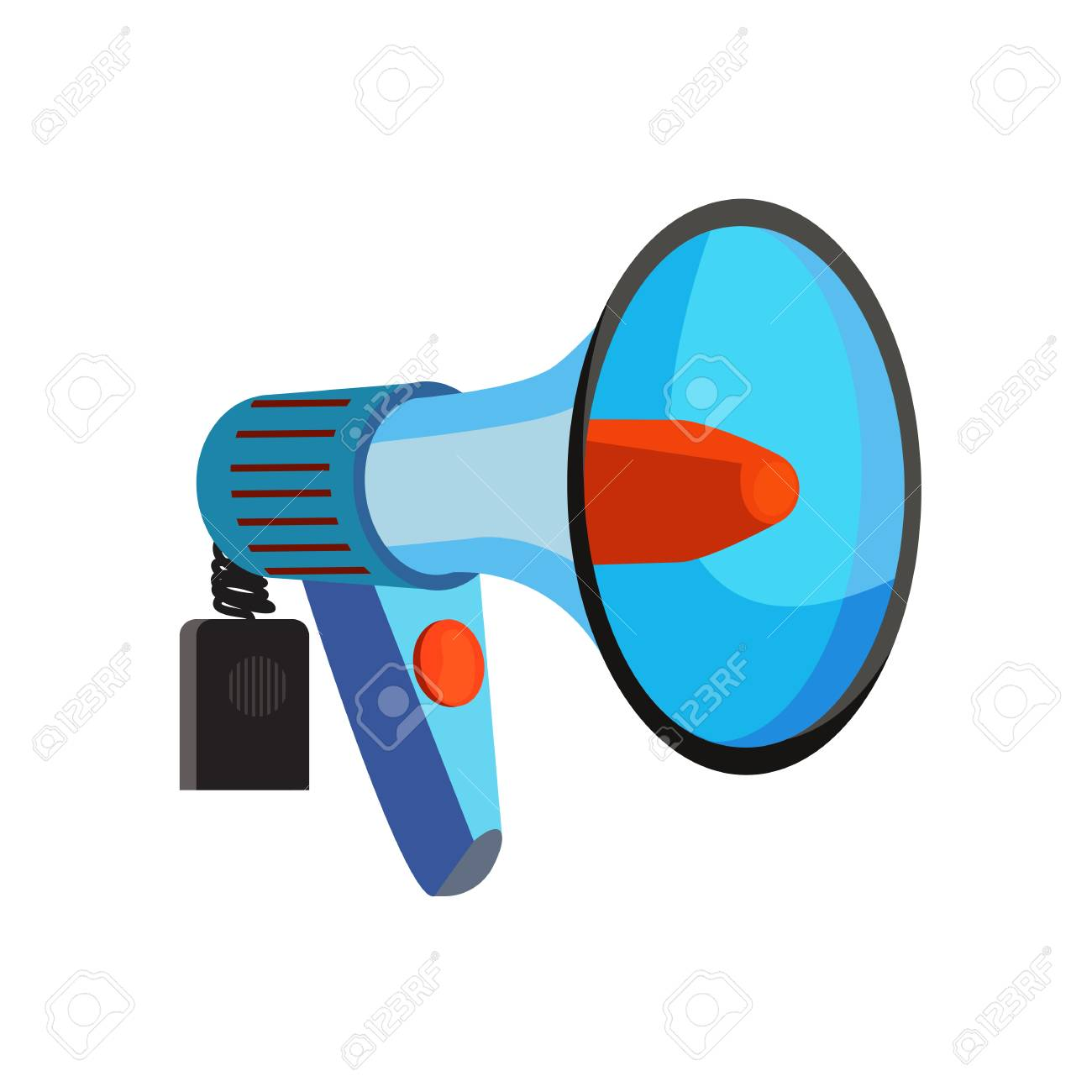 blue electronic megaphone vector illustration sport fan loudspeaker royalty free cliparts vectors and stock illustration image 125270556 123rf com