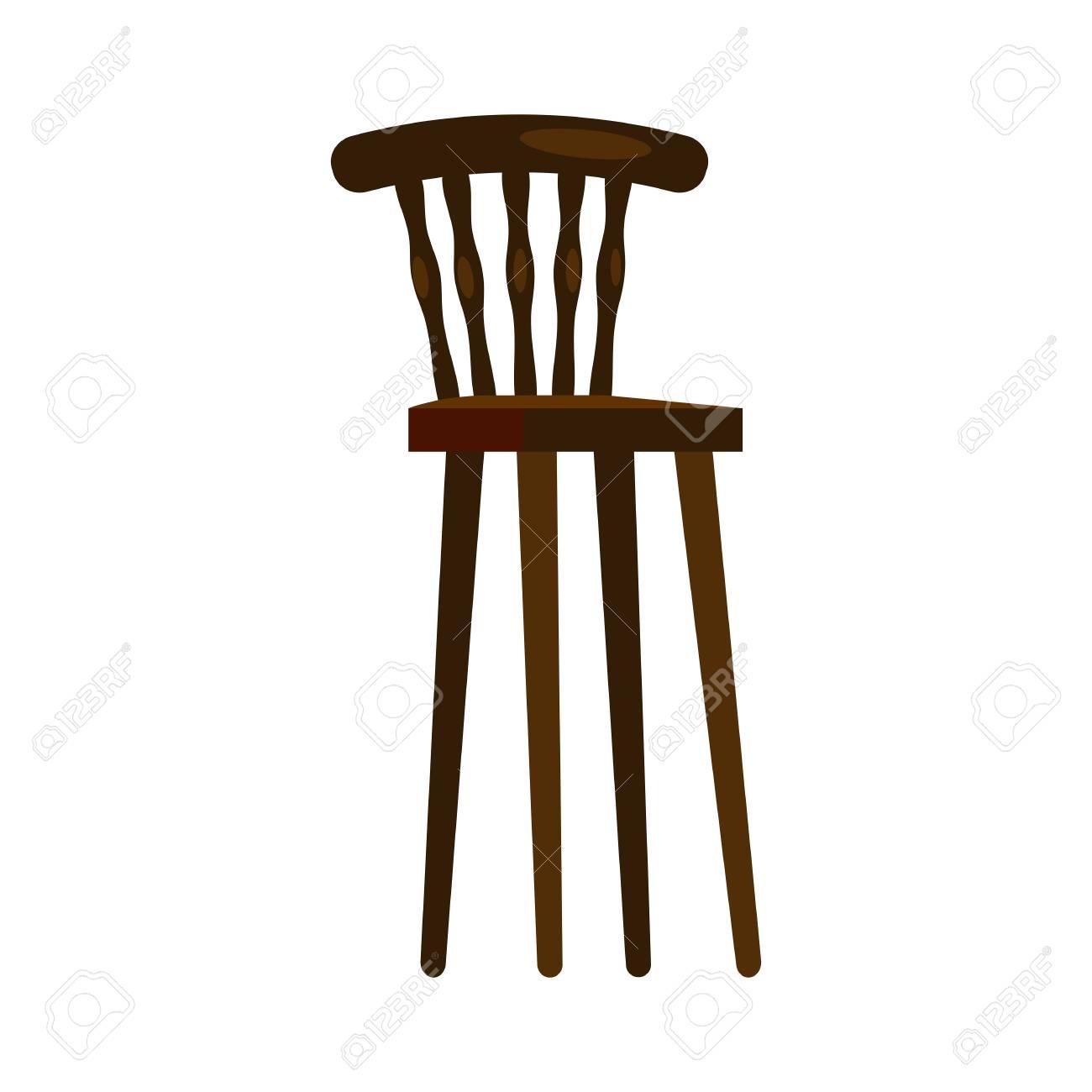 High wooden chair. Nursery, kitchen, retro chair. Chairs concept...