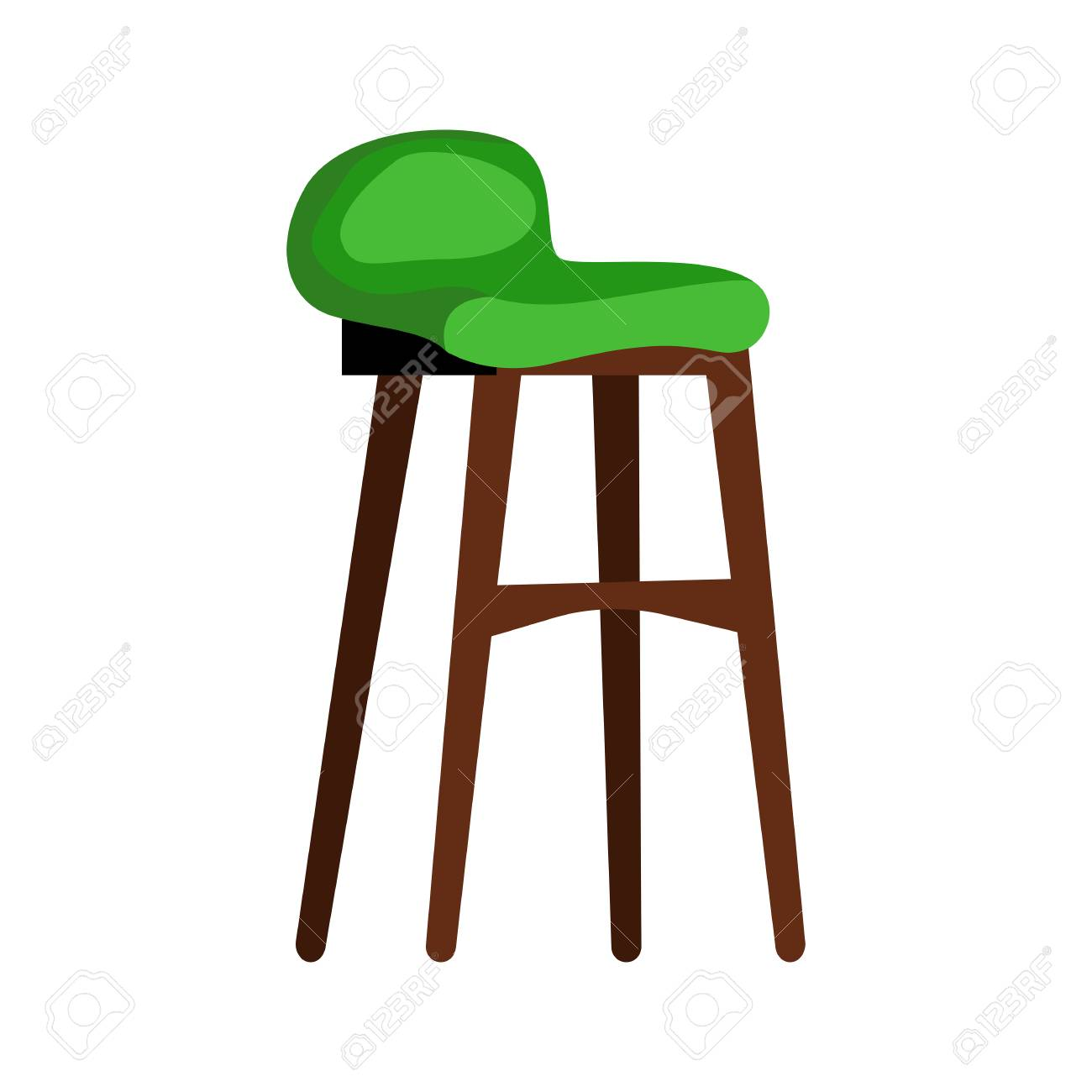 Terrific Modern Green Padded Stool Flat Icon Living Room Lounge Chair Lamtechconsult Wood Chair Design Ideas Lamtechconsultcom