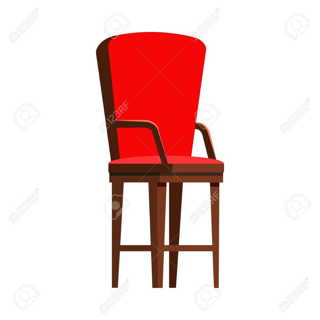 Red wooden chair flat icon. Seat, arm chair, kitchen chair. Chairs..