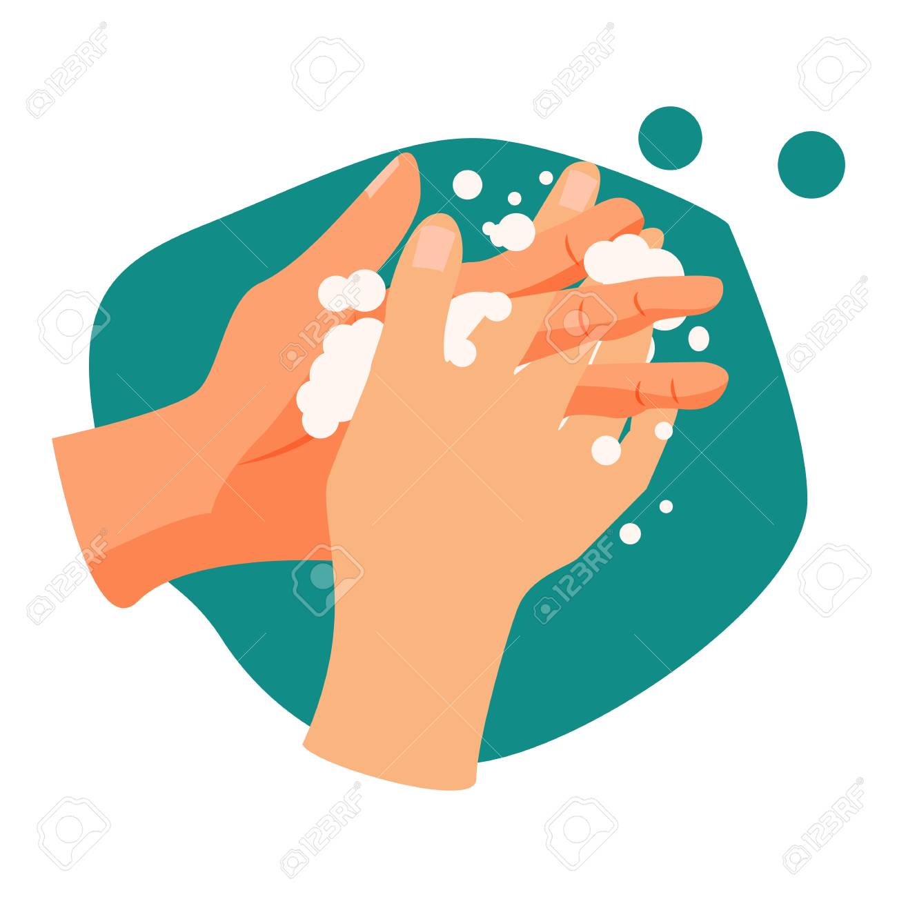 Handwashing illustration. Water, washing hands, cleaning. Hygiene concept. Vector illustration can be used for healthcare, skincare, hygiene - 124799042