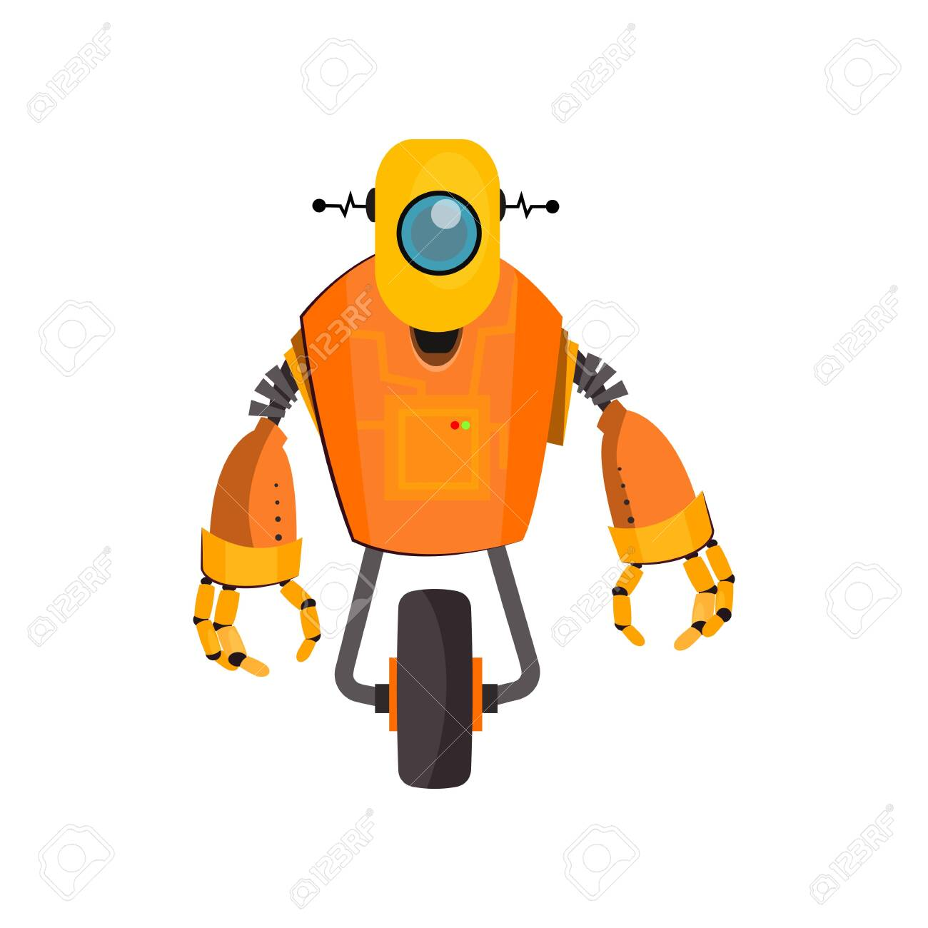 Yellow robot cartoon illustration  One wheeled cyborg with wheel