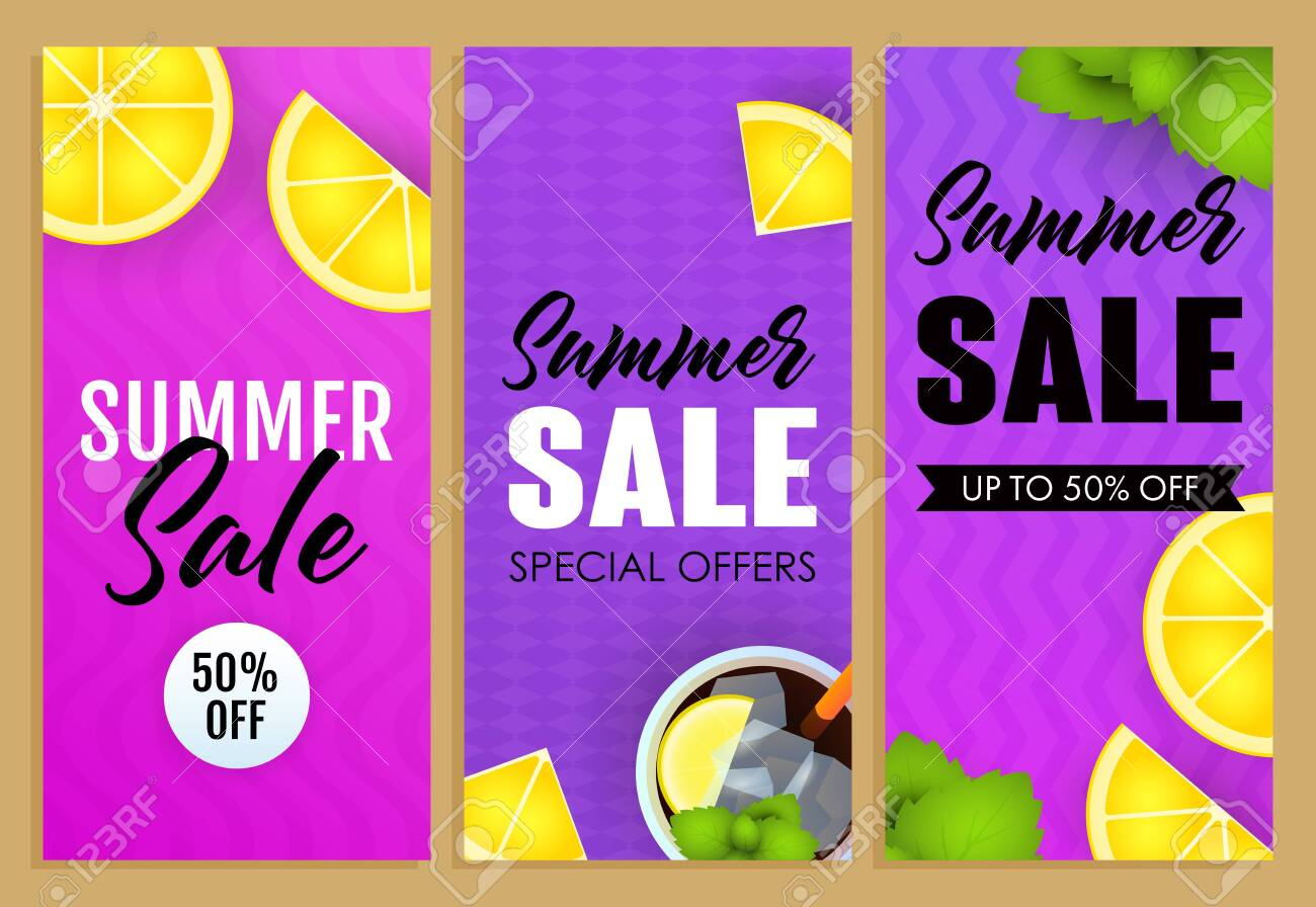 Summer sale letterings set, lemon slices and mojito cocktail. Tourism, summer offer or sale design. Handwritten and typed text, calligraphy. For leaflets, brochures, invitations, posters or banners. - 122484502
