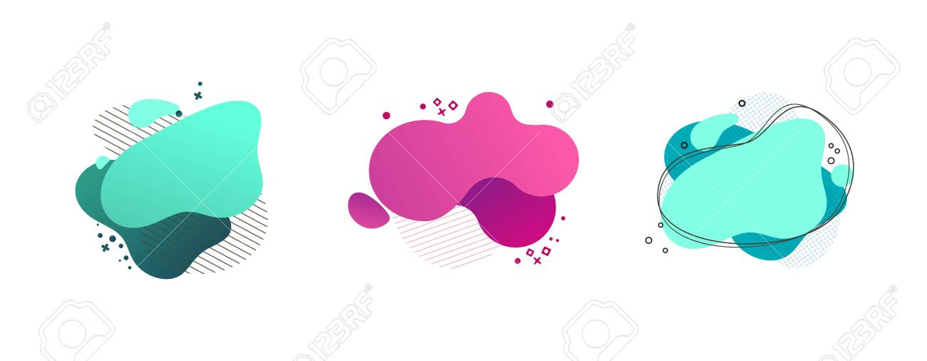 Liquid abstract geometric shape set. Cyan, green, pink blobs, hatched and dotted elements, wavy lines. Flowing splashes, fluid forms. Vector illustration for banner, poster, flyer design - 126727500
