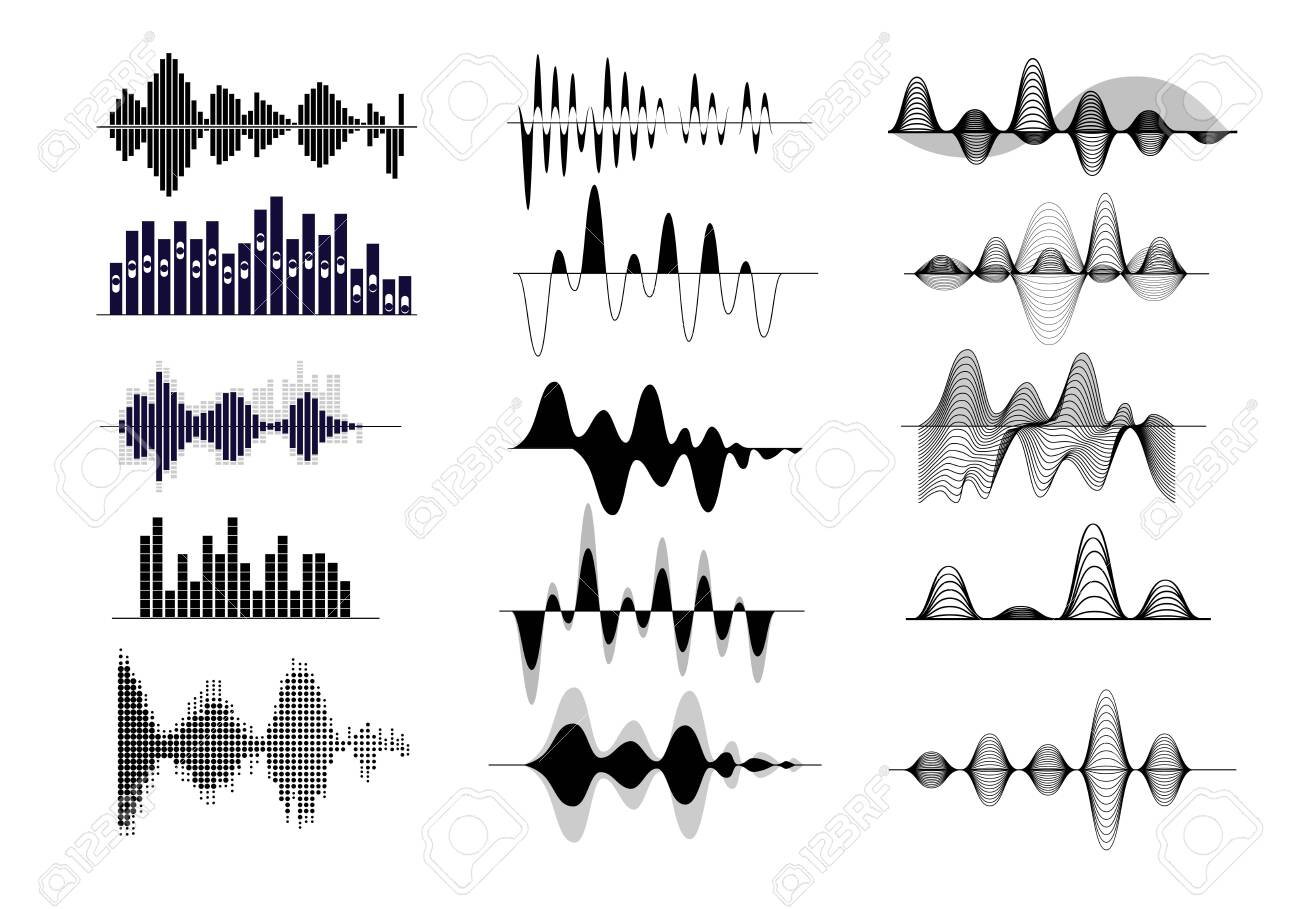Sound wave set. Radio frequency, audio record, waveform, voice curve. Sound concept. Vector illustrations can be used for topics like song, music, soundtrack - 126728864