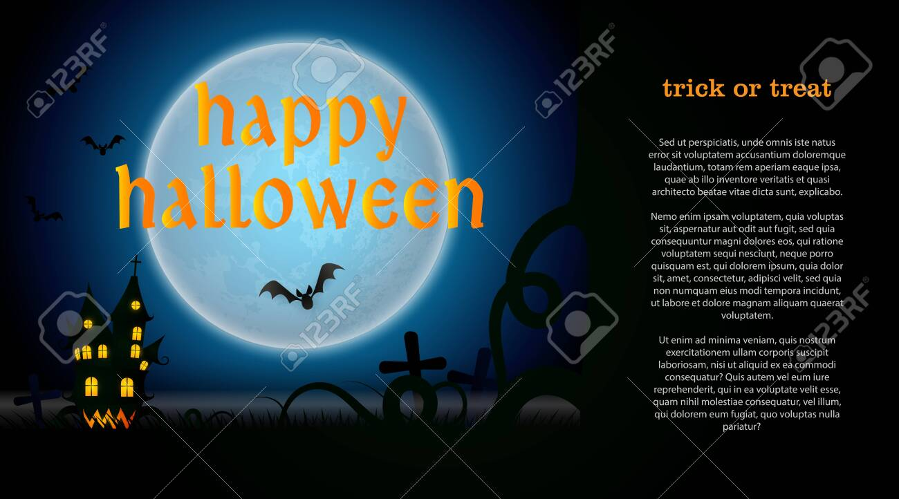 Halloween Creative Ads.Happy Halloween Lettering With Graveyard Castle And Moon Invitation