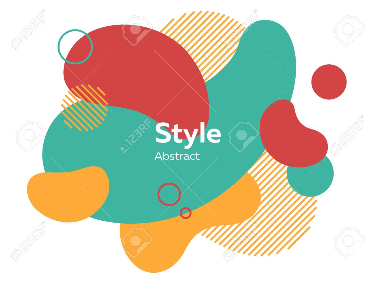 Red, yellow and green abstract elements. Hatched shapes, circles, layers, dynamical forms with text sample. Vector illustration for banner, poster, cover design - 128508524