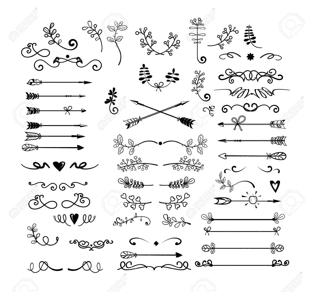 Vintage monogram set. Hand drawn doodles, arrows, antique curls, sketches. Decoration concept. Cartoon blast vector illustrations can be used for emblems, signboards - 129085744