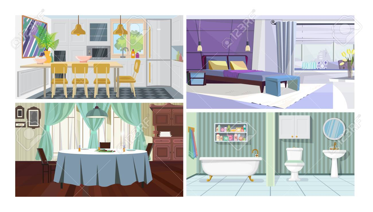 Modern Home Interior Vector Illustration Set Kitchen With Dining Royalty Free Cliparts Vectors And Stock Illustration Image 133771210