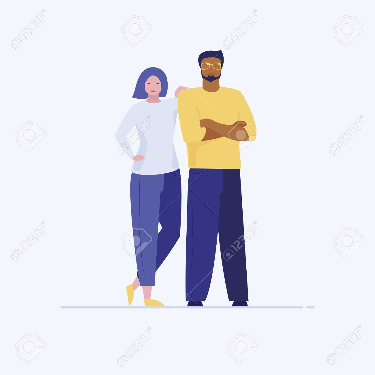 Asian woman leaning on Latino man shoulder. Confident woman and man in casual clothes standing flat vector illustration. Interracial couple, team concept for banner, website design or landing web page - 137410208