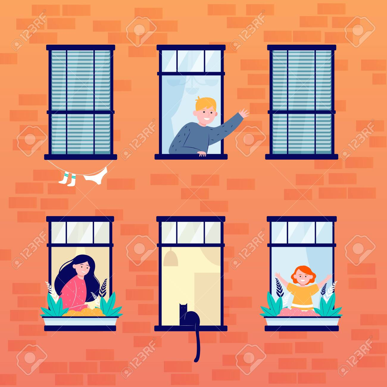 Daily life in open windows. Neighbor, building, home flat illustration. Lifestyle and neighborhood concept for banner, website design or landing web page - 147790794