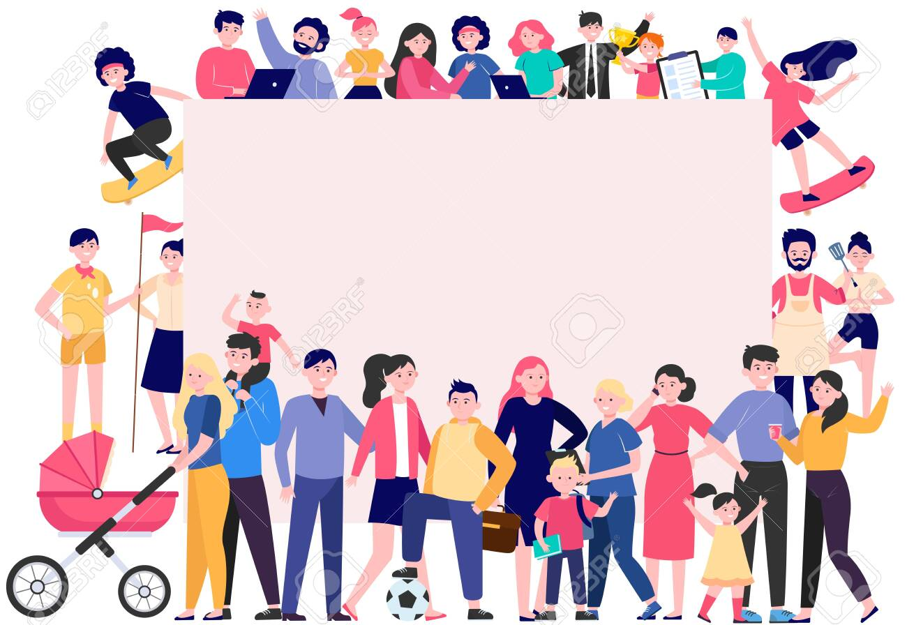 Crowd of happy people with blank placard flat vector illustration. Cartoon multicultural men and women standing together. Community, society and population concept - 148903745