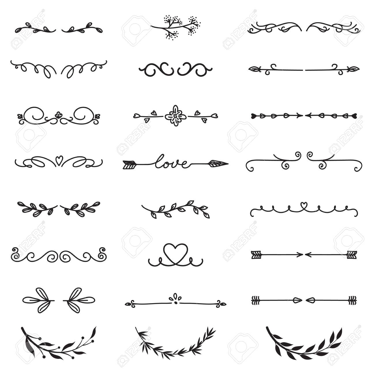 Various decorative text dividers set. Black hand drawn ornament borders and calligraphic elements isolated vector illustration collection. Decoration and ornaments concept - 150009921