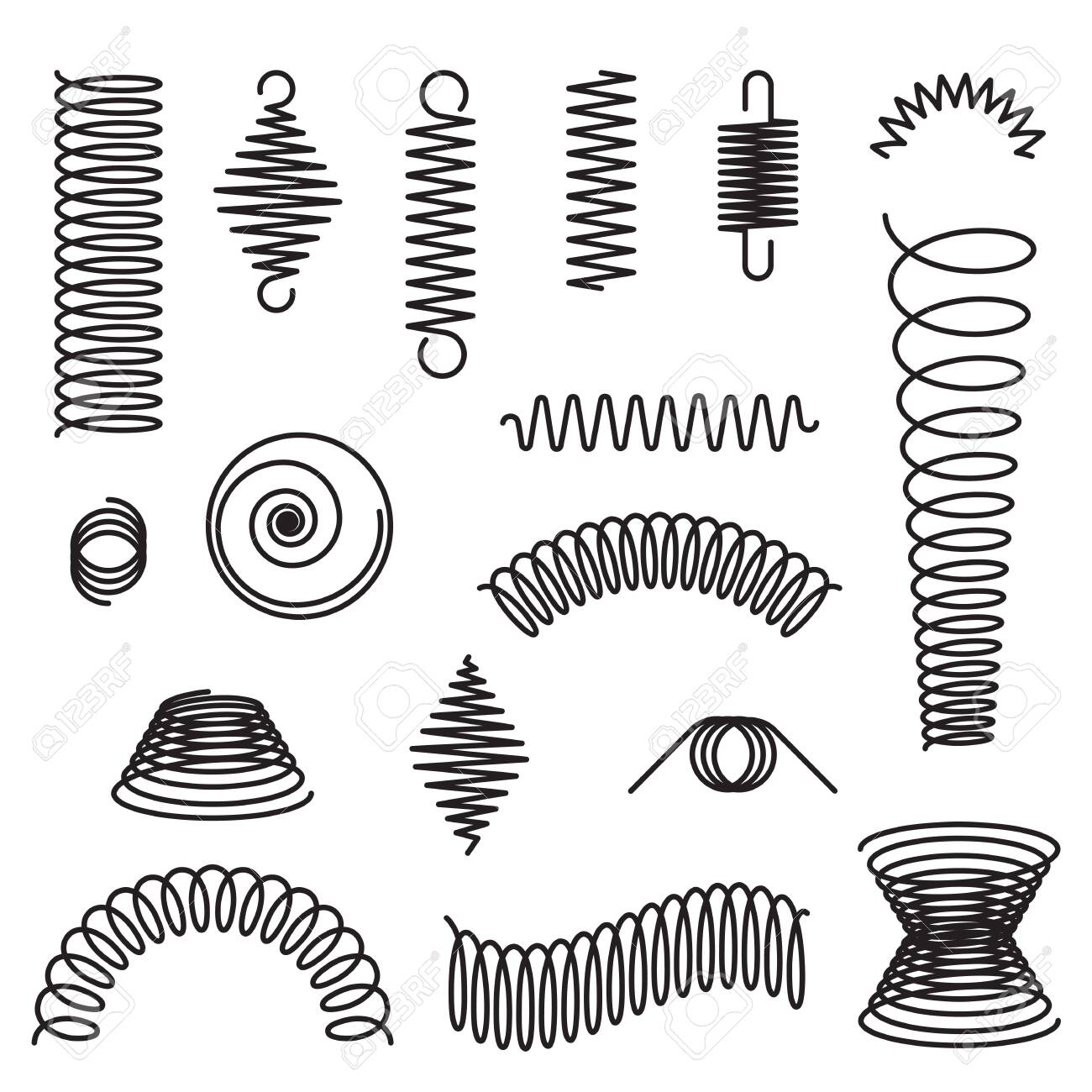 Metal spirals set. Flexible spring, industrial coil, springy curve. Vector illustrations for compression, equipment, engineering topics - 150486053