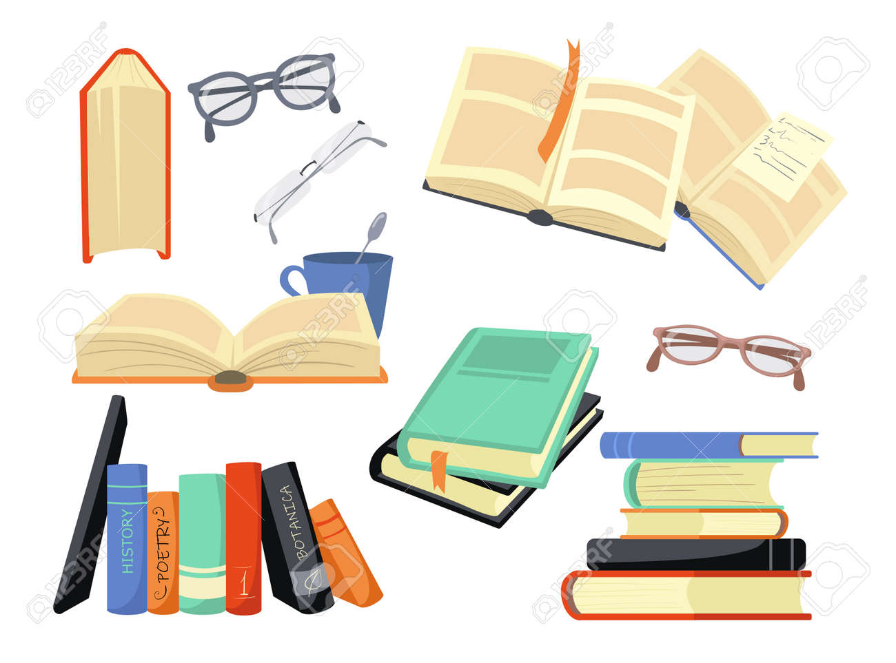 Cartoon set of different colorful books and reading symbols. Flat vector illustration. History, poetry, philosophy books and glasses. Study, literature, scholarship, information concept for design - 168077970