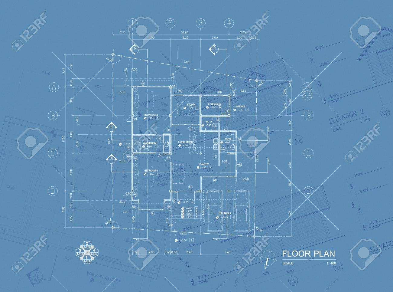 Overlay of house blueprint floor plan elevations