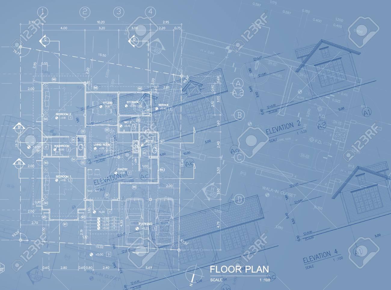 Overlay Of House Blueprint Floor Plan, Elevations And Washroom ...