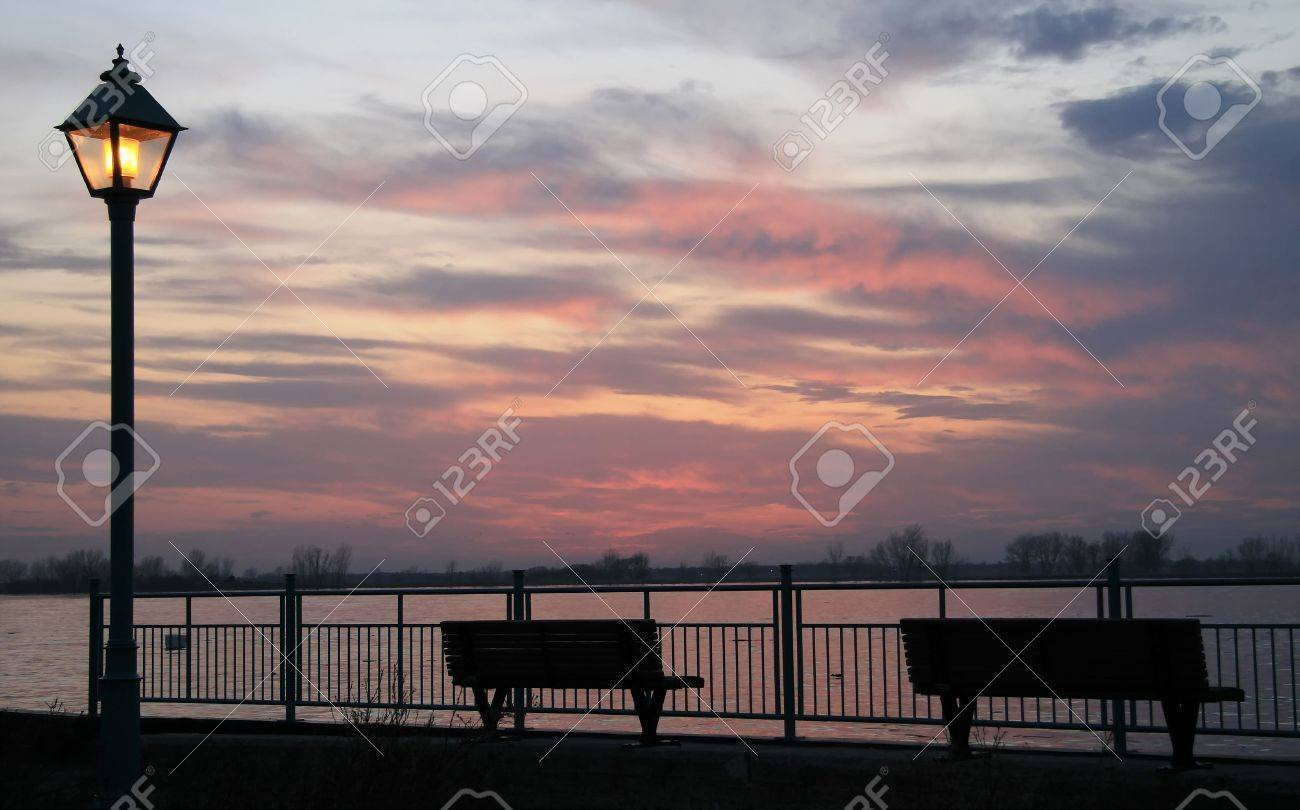 Scene for a romantic waterside sunset evening Stock Photo - 6453518