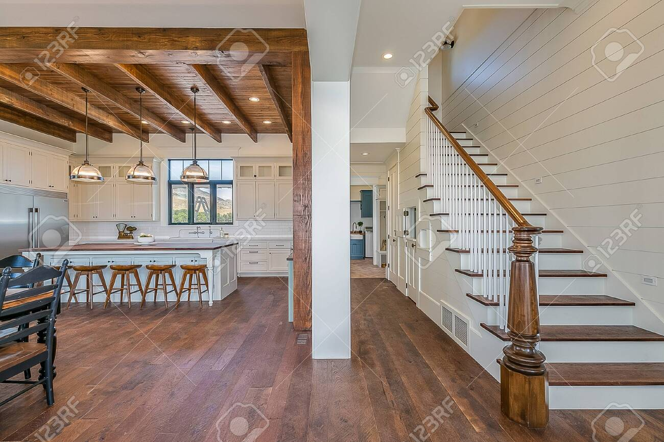 Standing At The Front Door Looking Upstairs And To The Kitchen Stock Photo Picture And Royalty Free Image Image 144667060